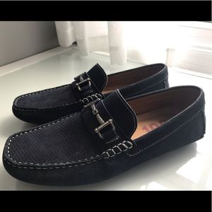 1901 driving moccasins with bridle navy suede 10